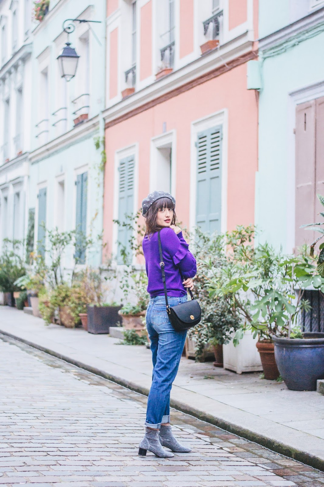 streetstyle - Purple Sweater and Vibrant Homes