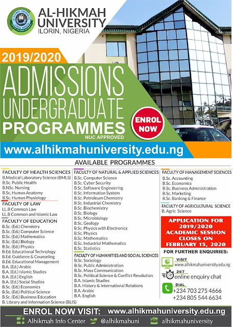 Al-Hikmah University Post-UTME / DE Screening Form 2019/2020