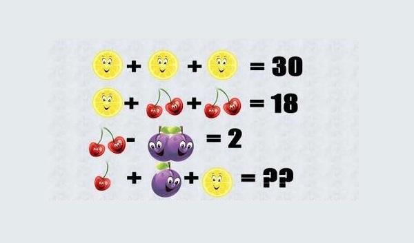 Solve fruit math puzzle