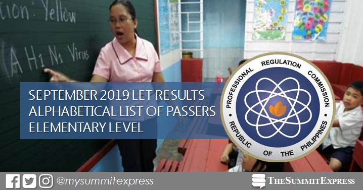 September 2019 LET Result Elementary: Alphabetical List of Passers