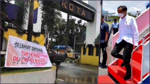Jelang Kedatangan Jokowi, Spanduk 'Selamat Datang The King of Lip Service' Hiasi Batas Kota Kendari