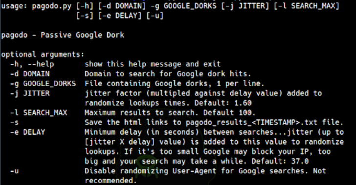 Pagodo : Automate Google Hacking Database Scraping And Searching
