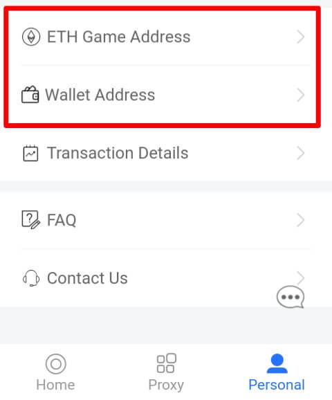 """Untuk bermain, Anda harus mengisi Alamat ETH ImToken (ETH Address) pada menu """"Personal"""" kemudian pilih """"ETH Game Address"""" dan """"Wallet Address""""."""
