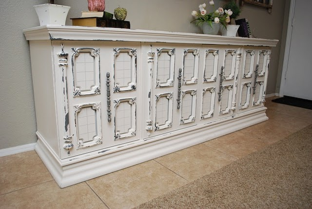 Distressed White Buffet Table