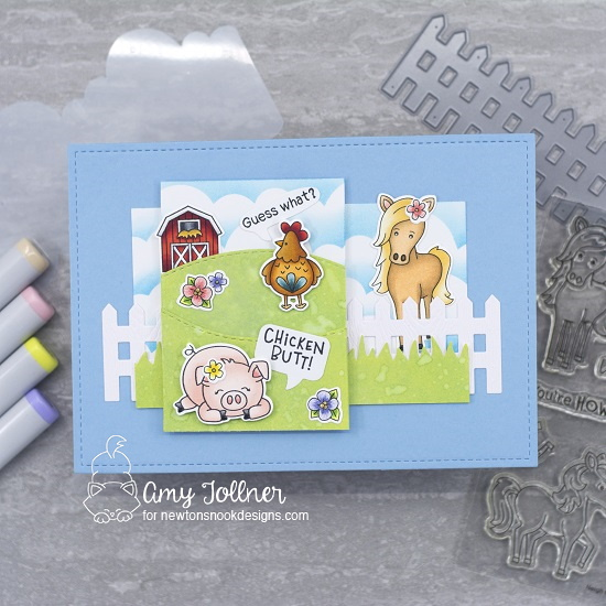 Guess what? by Amy features Oink, Neigh, Moo, Cluck, Fence, Land Borders, Clouds by Newton's Nook Designs; #newtonsnook, #inkypaws, #farmcards