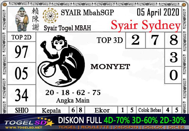 Prediksi Togel Sidney Minggu 05 April 2020 - Syair Togel Mbah SDY