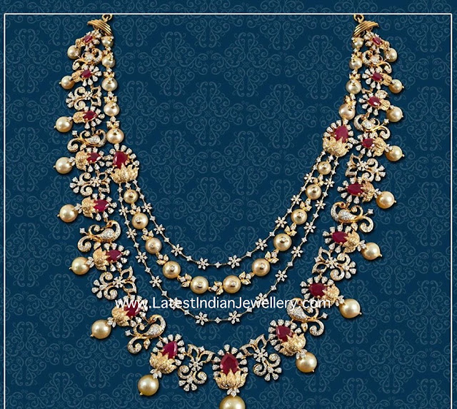 Layered Diamond Pearls Necklace