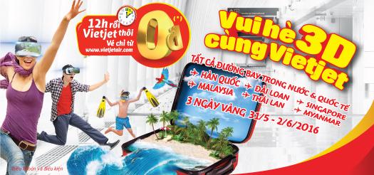 Vui Hè 3D cùng Vietjet với 1 triệu vé giá 0 đồng