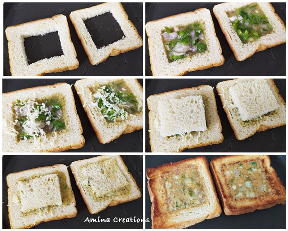 Omelet in bread hole