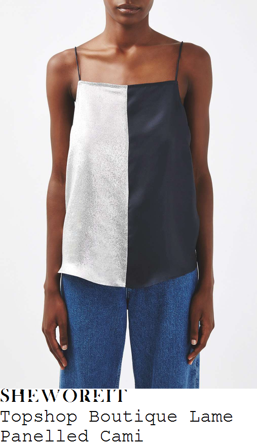 emma-willis-topshop-boutique-silver-and-navy-blue-colour-block-panel-detail-sleeveless-rouleau-strap-square-neckline-relaxed-fit-lame-and-silk-cami