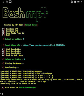 Bash2Mp4 - Download video's and status using termux