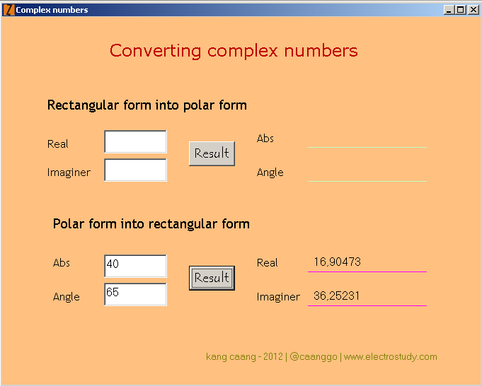 Calculation Polar Form Into Rectangular Form Of A Complex Numbers