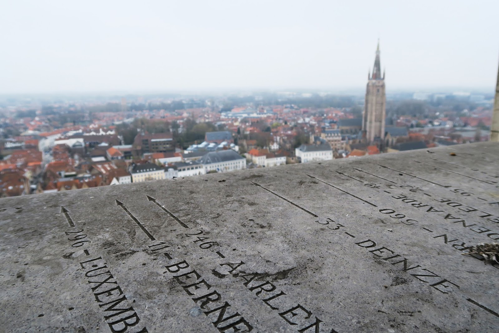 The view from the top of the Belfry of Bruges, looking out across the city.