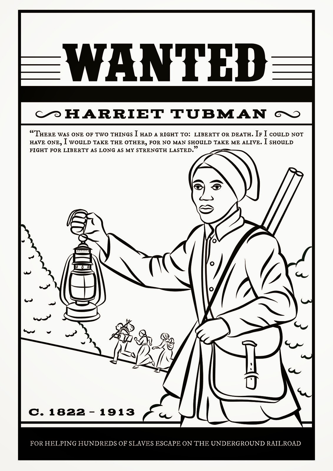 Harriet tubman free colouring page links