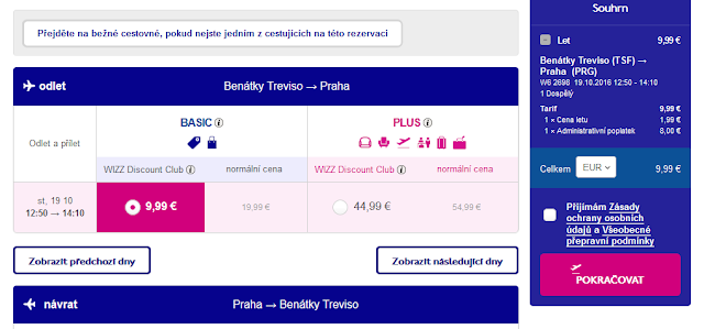 Letenka společnosti Wizzair Benátky - Praha za 9,99 Euro