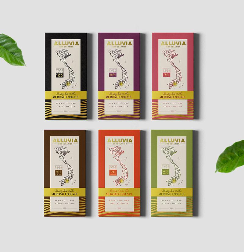 Một thiết kế bao bì ấn tượng cho thương hiệu kẹo socola hãng Alluvia của Vũ Digital – Agency.