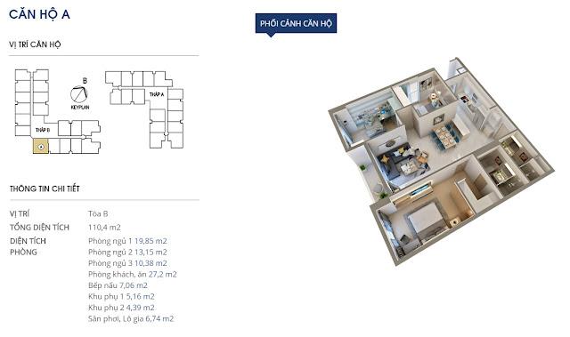 Thiết kế căn hộ A - 110m2 - Rivera Park