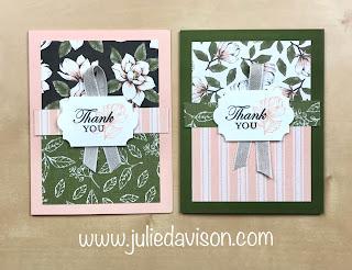 VIDEO & PDF: FREE Online Class ~ Stampin' Up! Magnolia Lane Double Wonder Cards Online Class ~ www.juliedavison.com