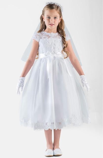 vestidos de primera comunion con velo