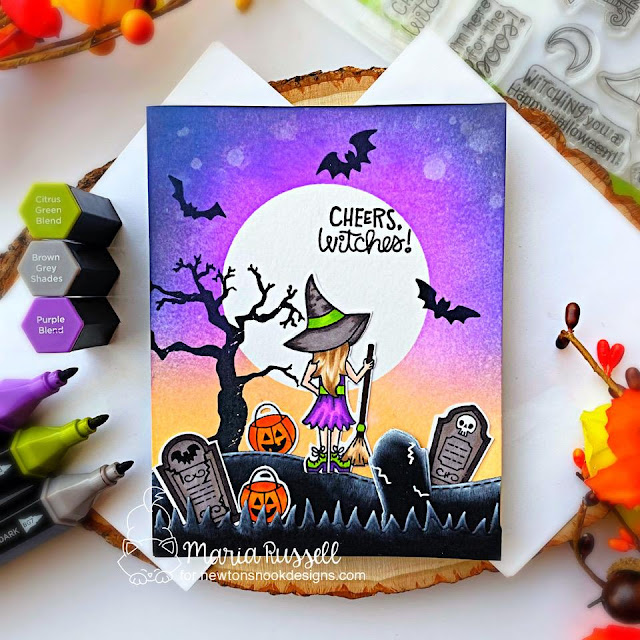 Halloween Witch Card by Maria Russell | Brooms & Boos Stamp Set, Count Newton Stamp Set, and Spooky Street Stamp Set by Newton's Nook Designs #newtonsnook