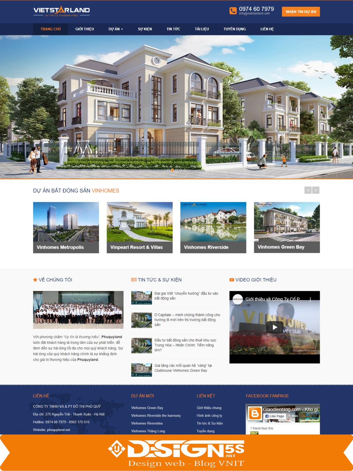Mẫu website bất động sản Vietstarland Chuyên Nghiệp