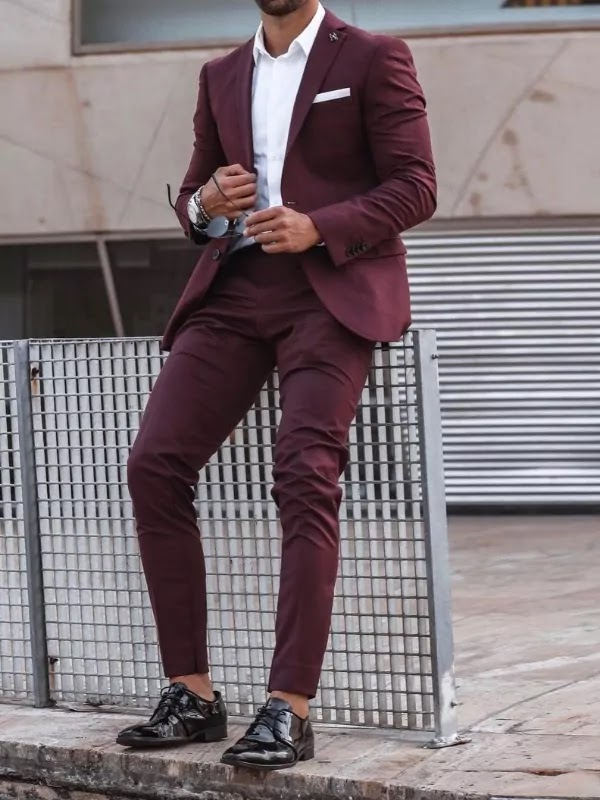 Wine colour suit with white shirt