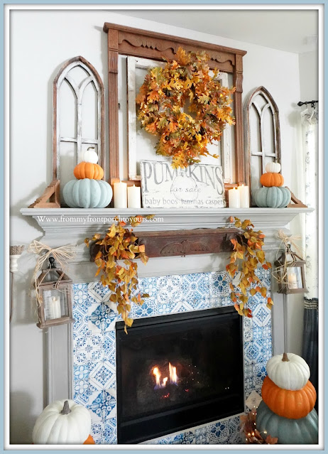 Farmhouse Cottage Fall Fireplace-Blue and White-French Country- Mantel-From My Front Porch To Yours