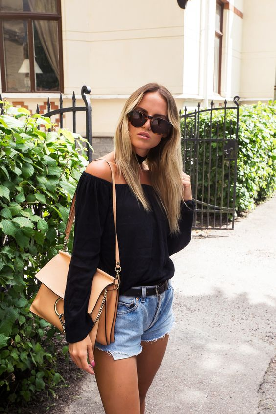 Kristin Sundberg Off Shoulder Top, Choker, Chloe Faye Bag, Denim Shorts