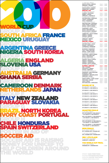World Cup calendar poster by David Watson of design studio Trebleseven