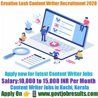 Creative Lush Content Writer Recruitment 2020-21