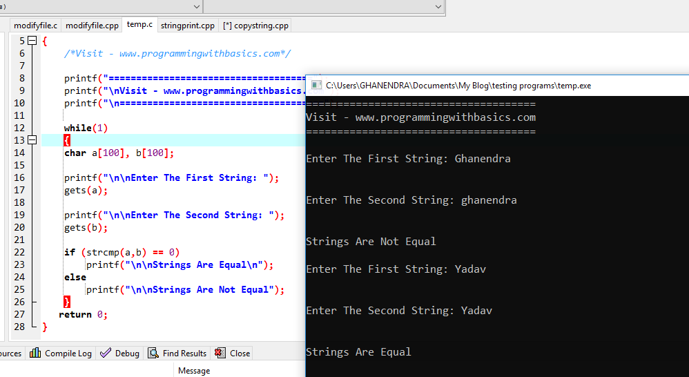 C Program to Compare Two Strings Using strcmp