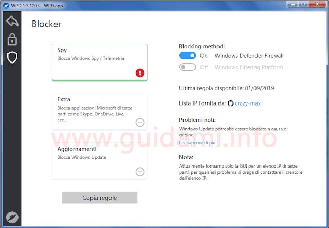 WPD schermata per attivare il blocker degli indirizzi IP di telemetria
