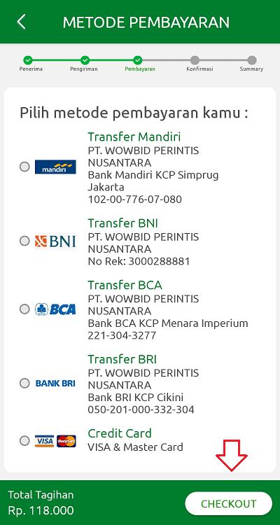 WowBid mendukung pembayaran melalui Mandiri, BNI, BCA, BRI, dan kartu kredit
