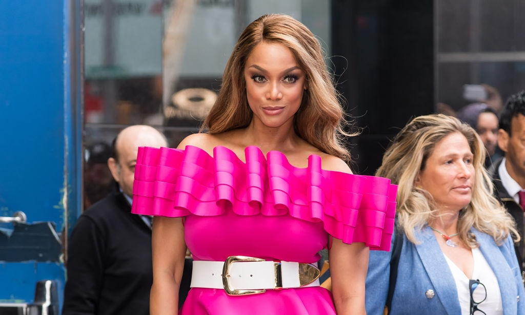 Model/TV personality Tyra Banks is seen leaving the ABC studio for GMA on May 08, 2019 in New York City. (Photo by Gilbert Carrasquillo/GC Images)