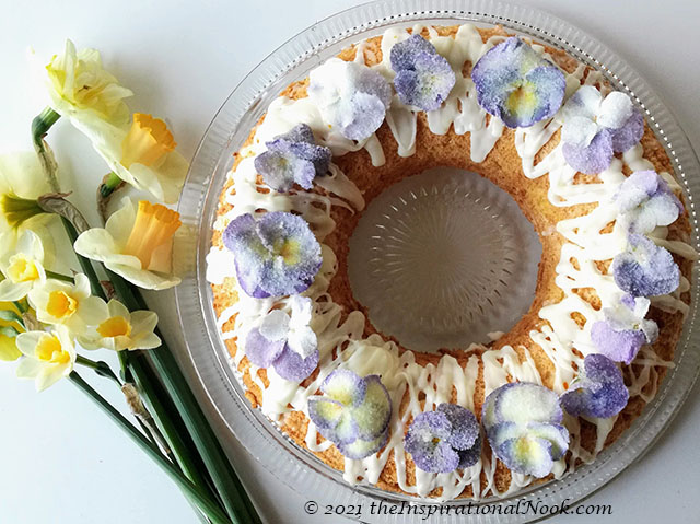 Cointreau Daffodil cake with sugared pansies, sugar flower cake topper