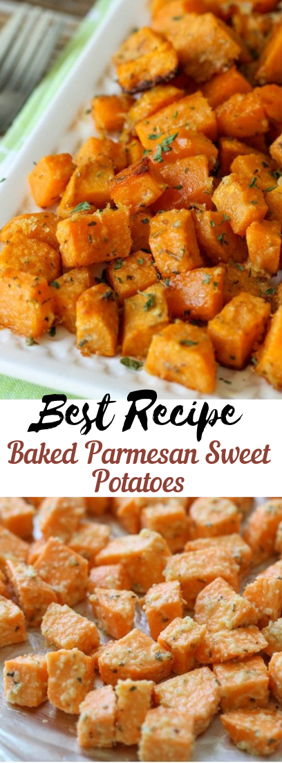 Baked Parmesan Sweet Potatoes #healthyfood #dietketo