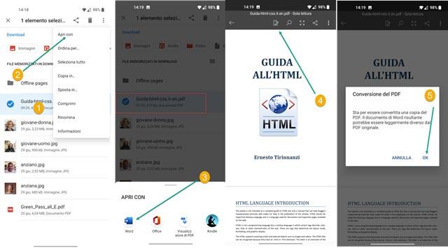 conversione dei pdf in word con app mobile