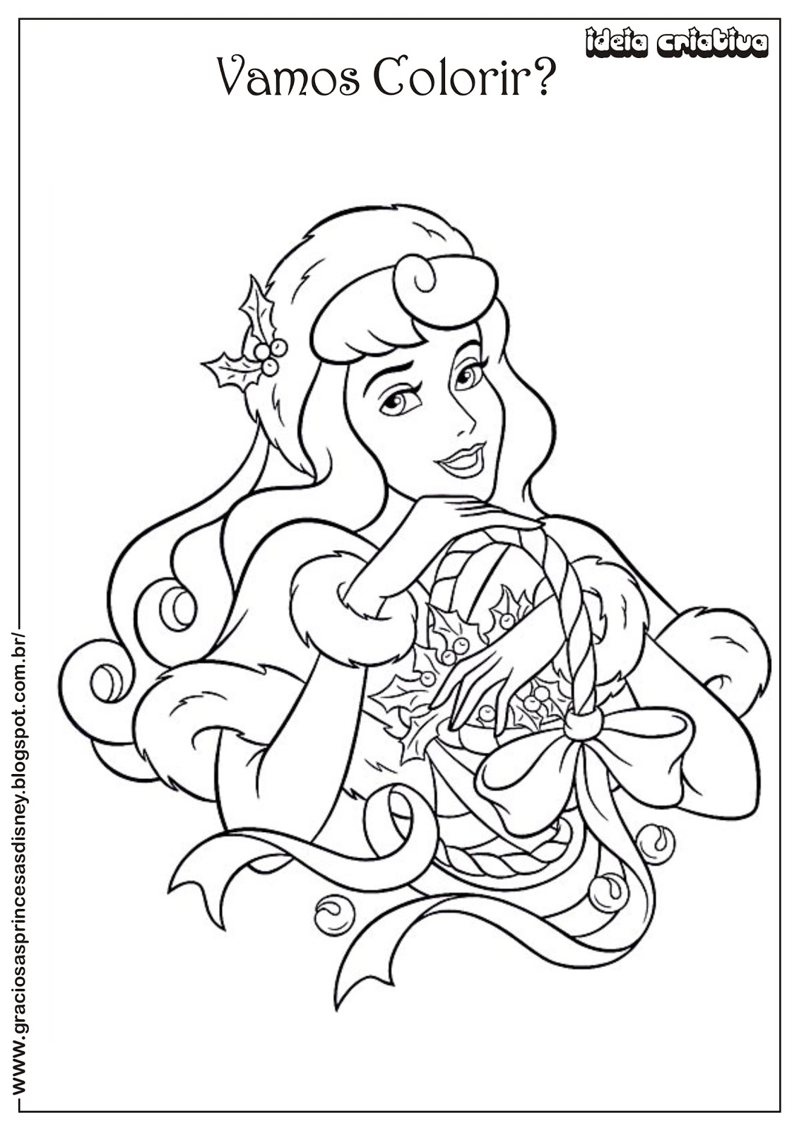 Riscos Para Colorir Gratis Princesa Disney Natal A Bela