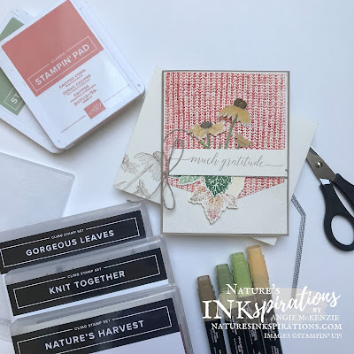 By Angie McKenzie for the Crafty Collaborations Autumn Blog Hop; Click READ or VISIT to go to my blog for details! Featuring the Gorgeous Leaves Bundle, the Nature's Harvest Cling Stamp Set along with the Knit Together Cling Stamp Set by Stampin' Up!; #handmadecards #autumncards #thankyoucards #coloringwithblends #stamping #gorgeousleaves #naturesharvest #knittogether #timber #basicborders #20212022annualcatalog #juldec2021minicatalog #naturesinkspirations #makingotherssmileonecreationatatime #coloringtechniques #fussycutting #stampinup #stampinupcolorcoordination