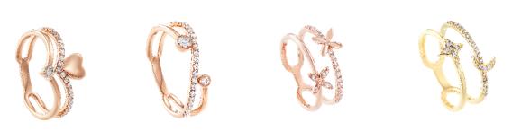 Rekaan berbentuk hati (heart shape), lingkaran berlian 'solitaire', kuntuman dua bunga bertatahkan berlian serta bulan dan bintang