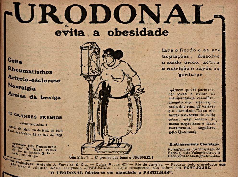 Propaganda antiga do Urodonal para emagrecer veiculada em 1928