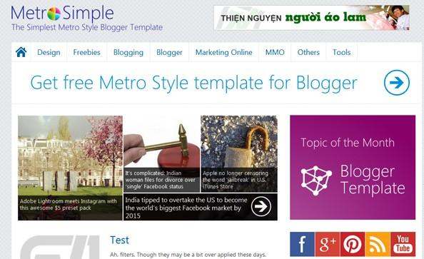 Metro Simple Premium Blogger Template