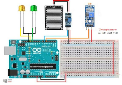 Rangkaian gabungan sensor ldr dan hujan dengan pin digital Arduino