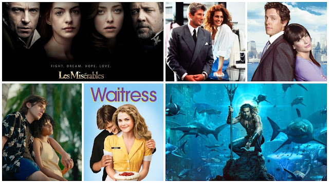 collage of film posters - Les Miserables, Pretty Woman, Two Weeks Notice, Everything Everything, Waitress, Aquaman