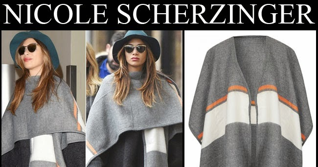 What She Wore Nicole Scherzinger In Light Grey Cape With