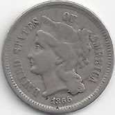 1866 REEDERSONG Civil War Era Nickel or U.S. Three Cent Pi