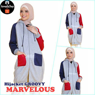 Jaket Hijaber Hijacket Groovy Marvelous [Premium Fleece + Hoodie Zipper] Size M fit L XL