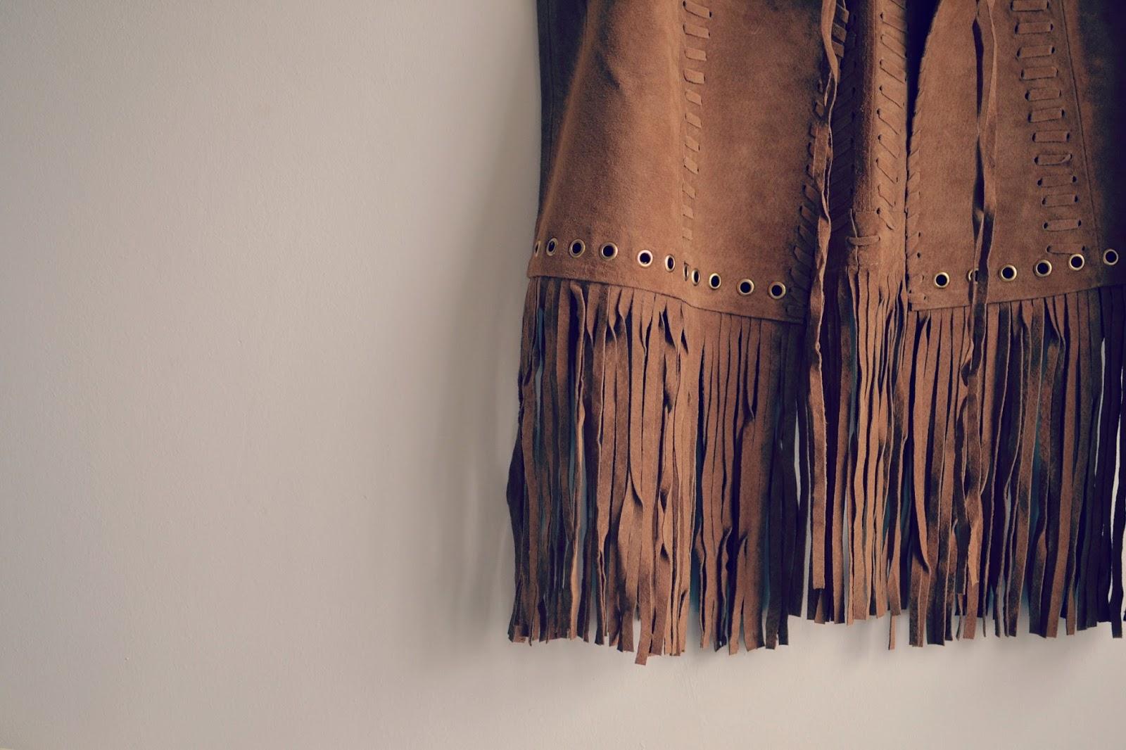 ASOS premium fringed suede waistcoat