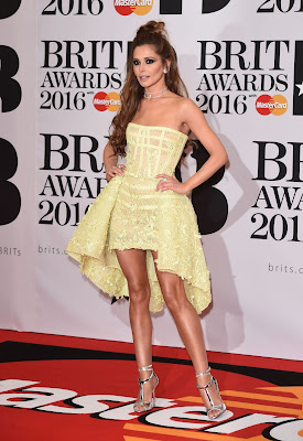 Cheryl Fernandez in a strapless dress at the Brit Awards 2016