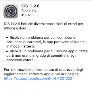 Apple rilascia iOS 11.2.6
